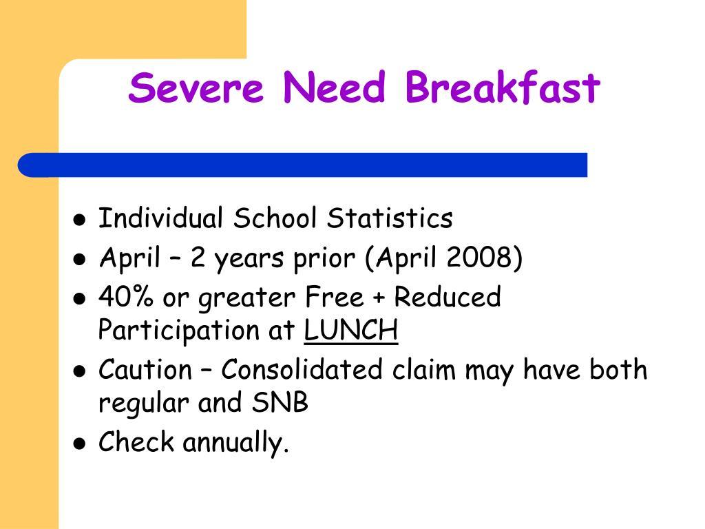 Severe Need Breakfast