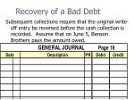 recovery of a bad debt