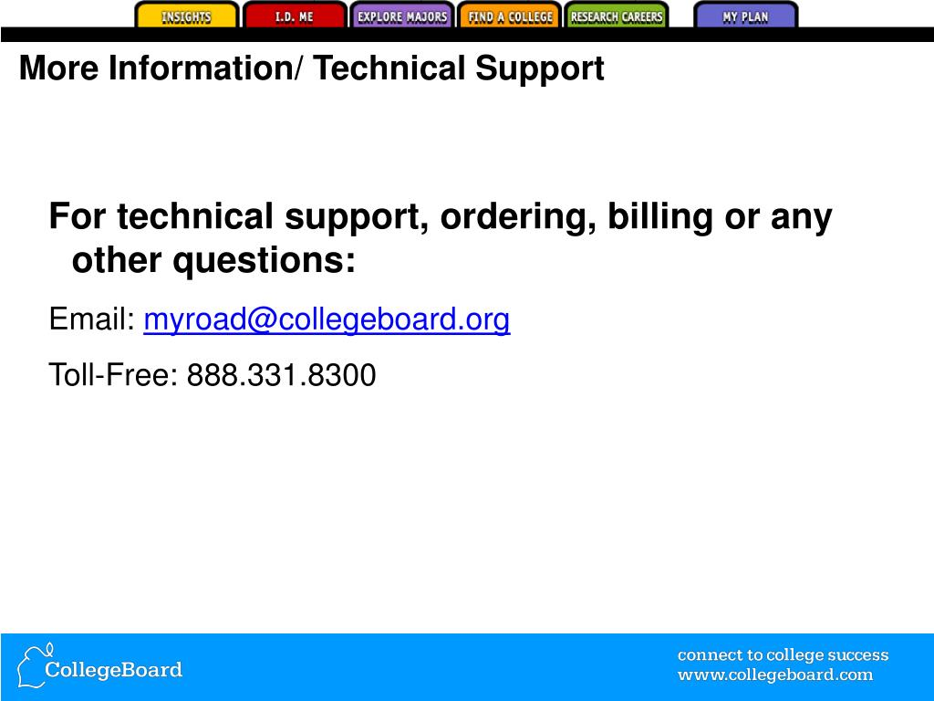 More Information/ Technical Support