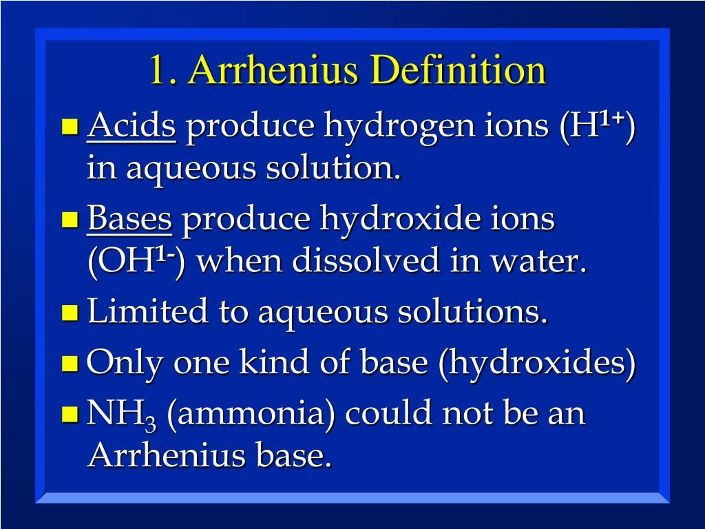 1. Arrhenius Definition