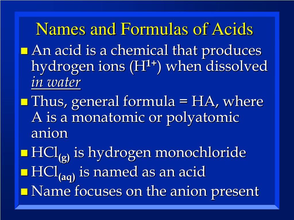 Names and Formulas of Acids