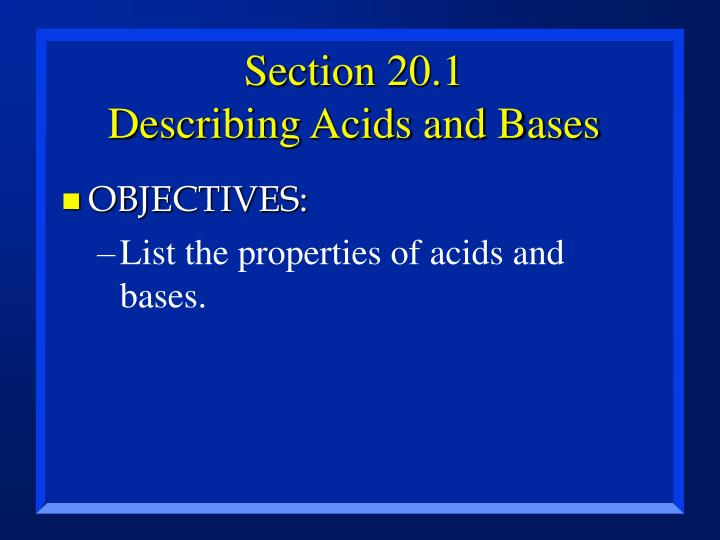 Section 20 1 describing acids and bases