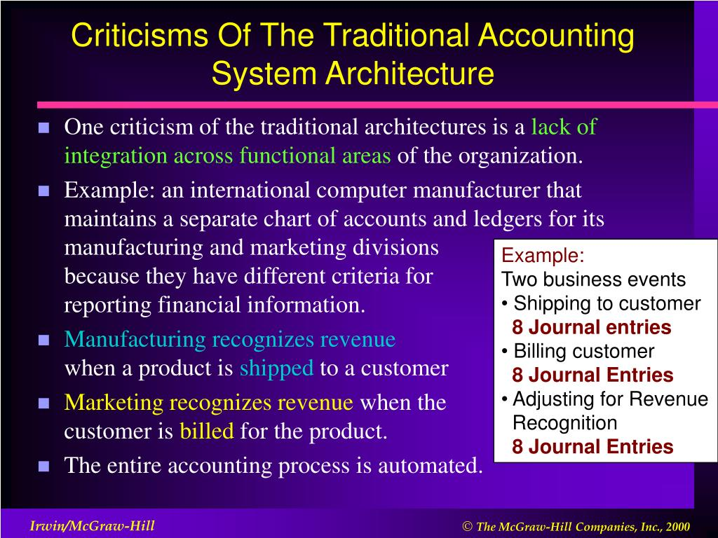 Criticisms Of The Traditional Accounting System Architecture