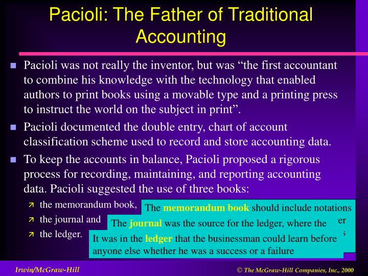 Pacioli the father of traditional accounting