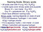 naming acids binary acids