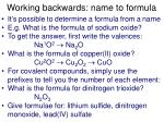 working backwards name to formula