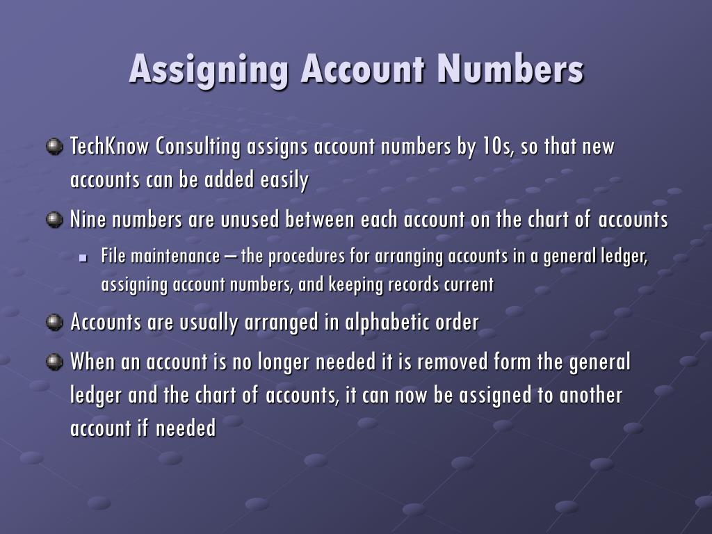 Assigning Account Numbers