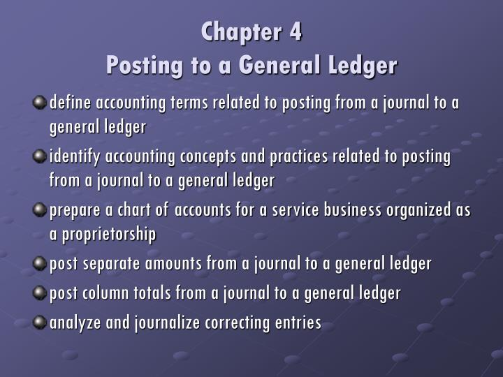 Chapter 4 posting to a general ledger