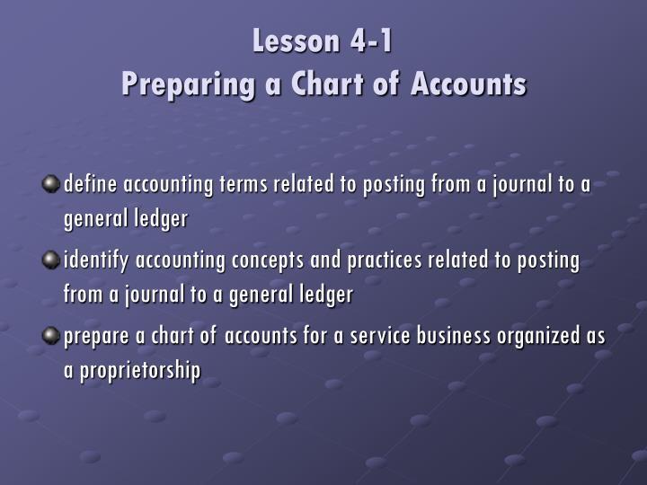 Lesson 4 1 preparing a chart of accounts