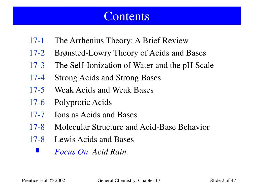 PPT - Chapter 17: Acids and Bases PowerPoint Presentation