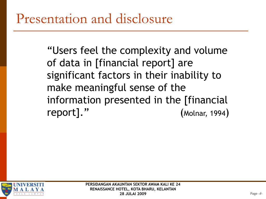 Presentation and disclosure