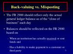 back valuing vs misposting