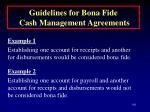 guidelines for bona fide cash management agreements101