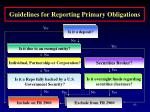 guidelines for reporting primary obligations