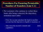 procedures for ensuring permissible number of transfers line c 1141