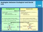 analogies between ecological and social lca