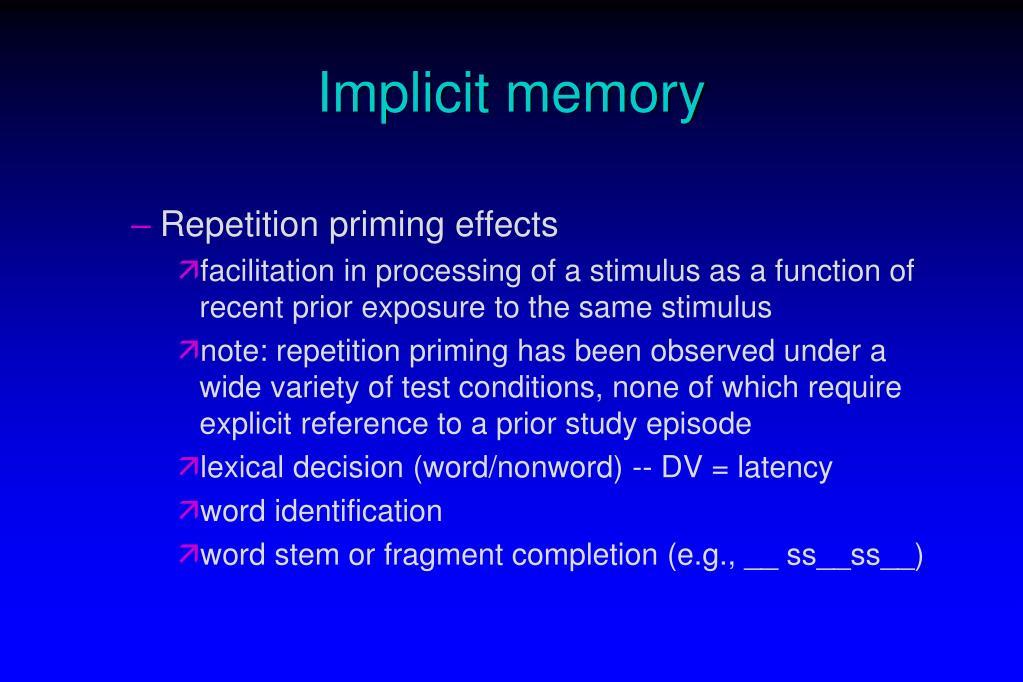 Implicit memory