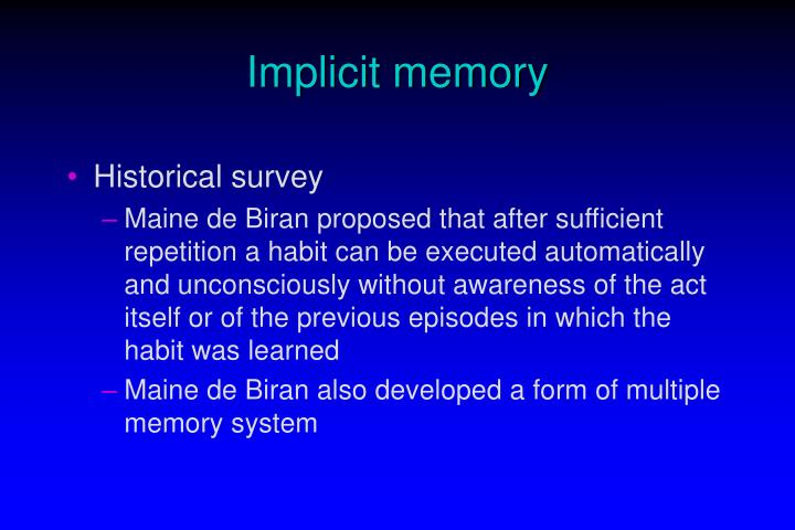 Implicit memory3