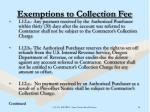 exemptions to collection fee