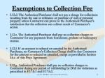 exemptions to collection fee38