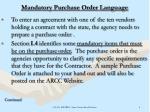 mandatory purchase order language