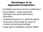 advantages of an appointed comptroller