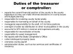 duties of the treasurer or comptroller