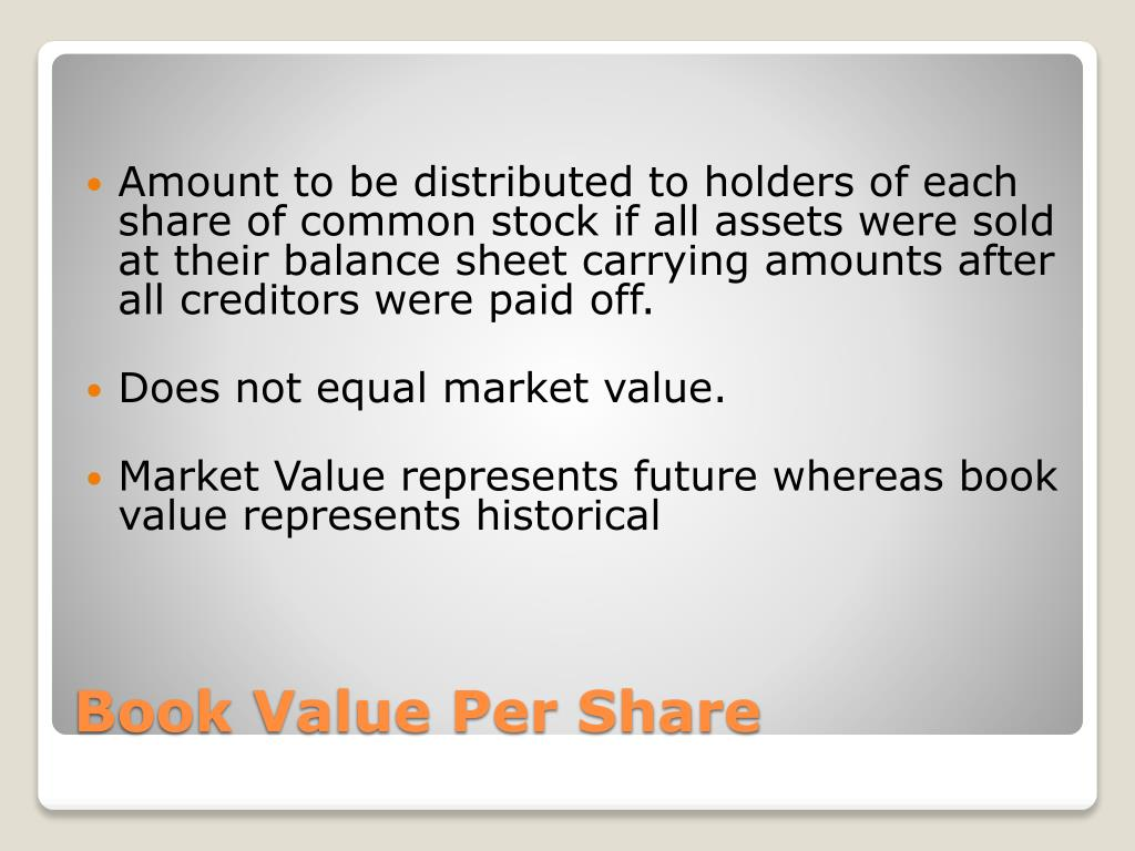 Amount to be distributed to holders of each share of common stock if all assets were sold at their balance sheet carrying amounts after all creditors were paid off.