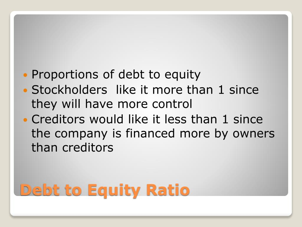 Proportions of debt to equity