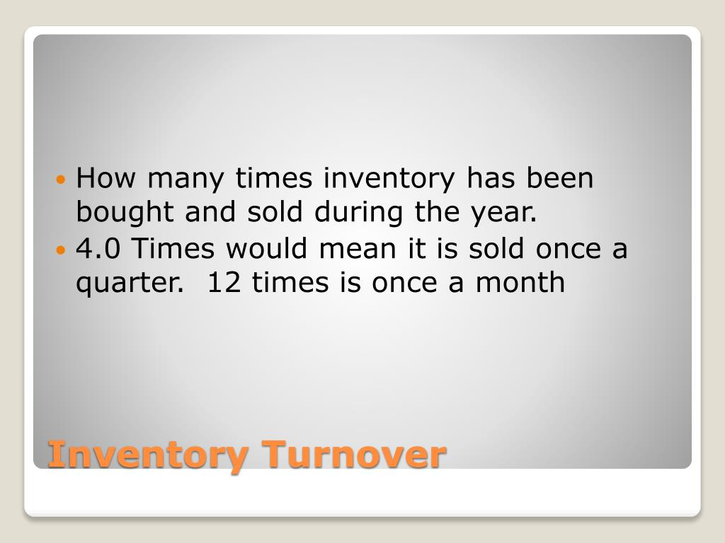 How many times inventory has been bought and sold during the year.