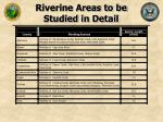 riverine areas to be studied in detail