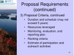 proposal requirements continued
