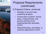 proposal requirements continued19