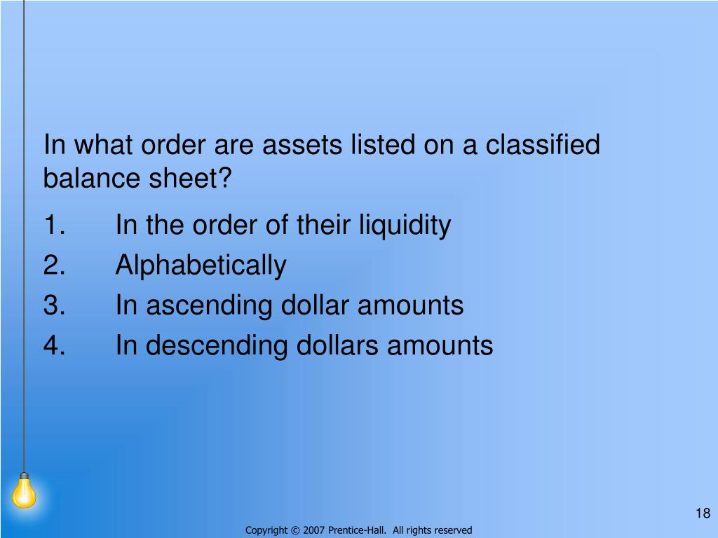 In what order are assets listed on a classified balance sheet?