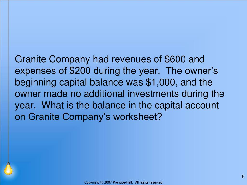 Granite Company had revenues of $600 and expenses of $200 during the year.  The owner's beginning capital balance was $1,000, and the owner made no additional investments during the year.  What is the balance in the capital account on Granite Company's worksheet?
