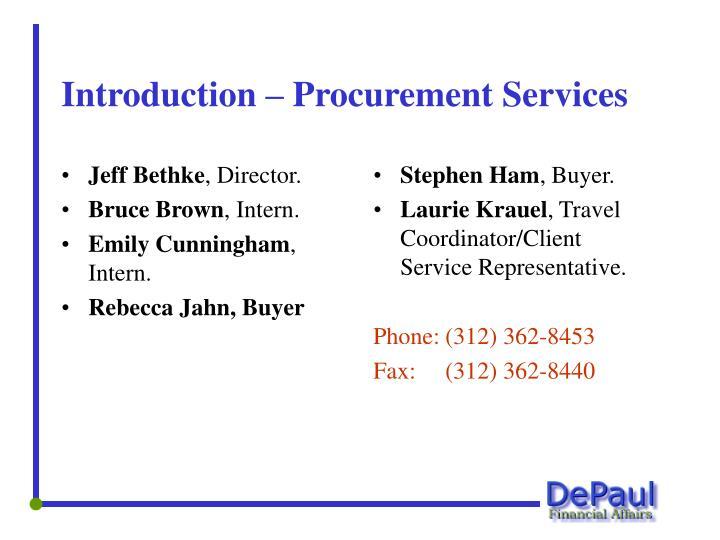 Introduction procurement services