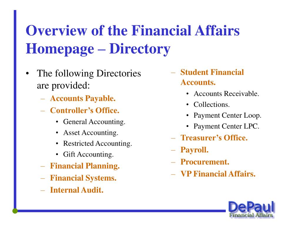 The following Directories are provided: