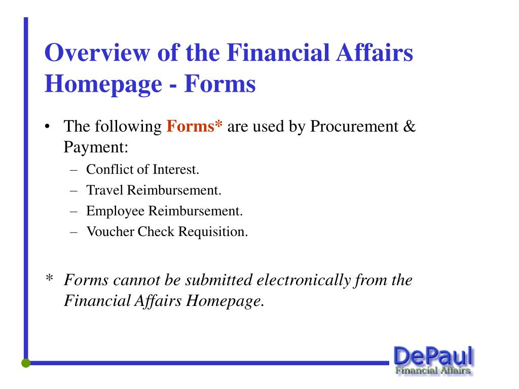 Overview of the Financial Affairs Homepage - Forms
