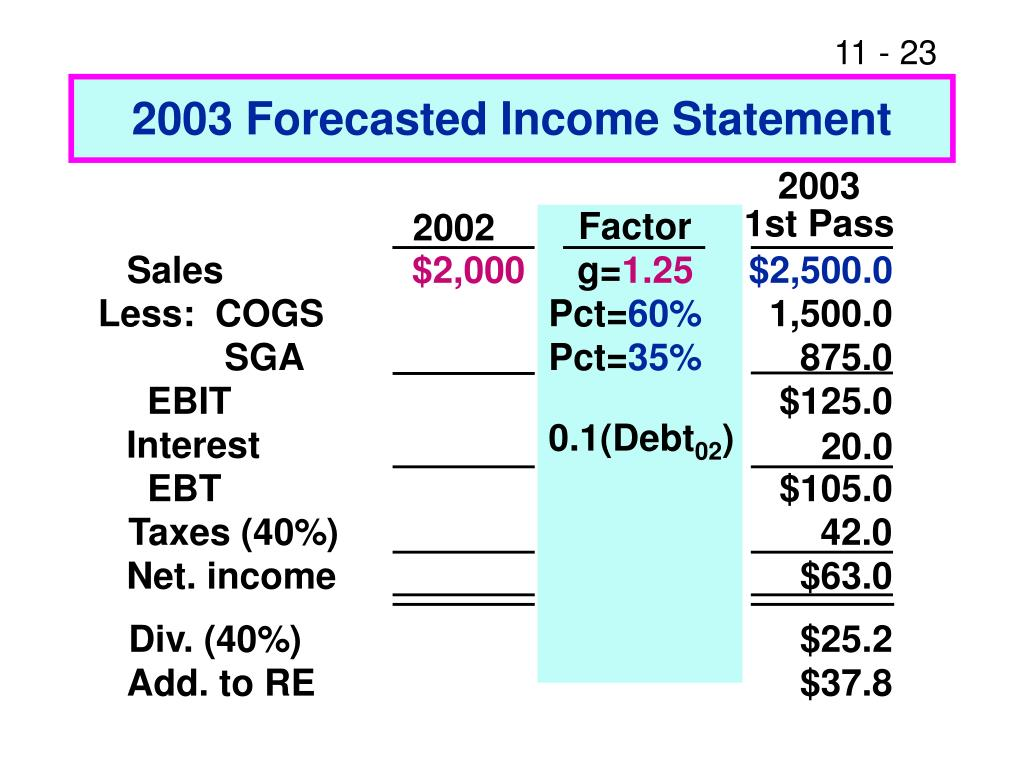 2003 Forecasted Income Statement