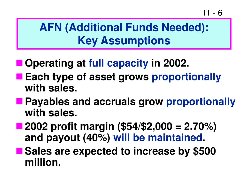 AFN (Additional Funds Needed):
