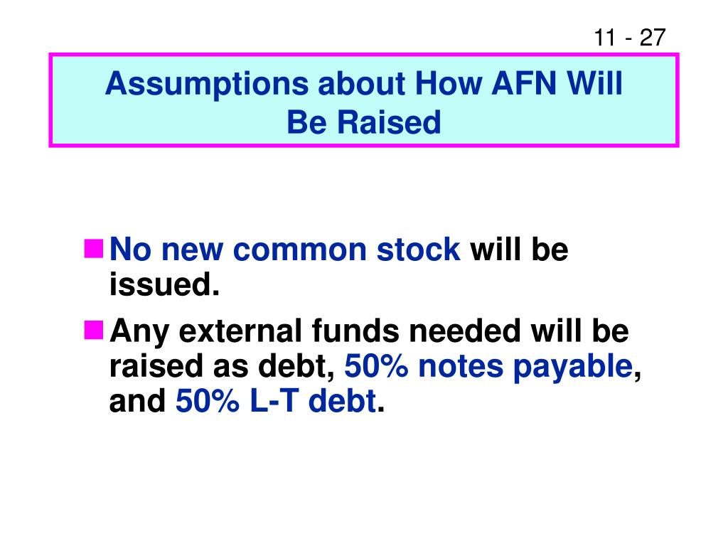 Assumptions about How AFN Will