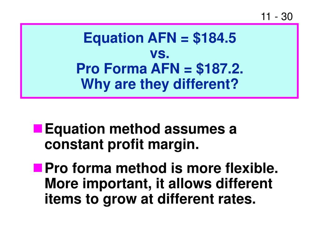 Equation AFN = $184.5