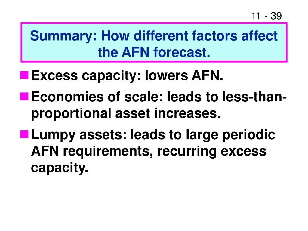 Summary: How different factors affect                                                 the AFN forecast.