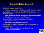 analytical needs cont
