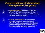 commonalities of watershed management programs