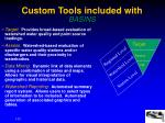 custom tools included with basins