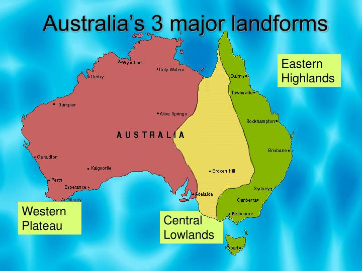 Australia Map Landforms.Ppt Australia S Major Landforms And Drainage Basins Powerpoint