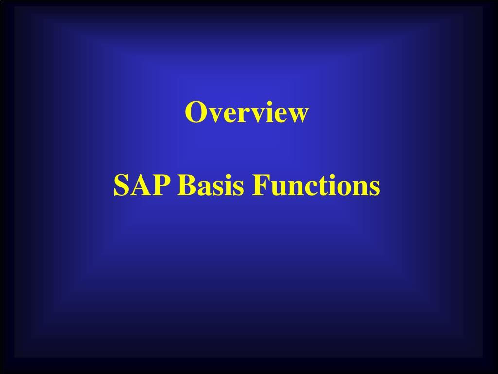 overview sap basis functions l.