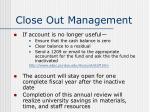 close out management40
