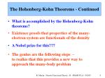 the hohenberg kohn theorems continued